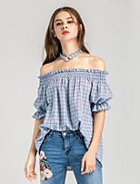 Women's Casual/Daily Street chic Summer Shirt,Houndstooth Boat Neck Short Sleeve Cotton Medium