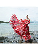 Feminino balanço Vestido,Casual Temática Asiática Sólido Geométrica Decote V Longo Manga Longa Poliéster Verão Cintura BaixaSem