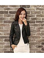 Для женщин Кожаные куртки Рубашечный воротник Длинный рукав