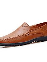 Для мужчин Мокасины и Свитер Удобная обувь Мокасины Кожа Весна Лето Повседневный На плоской подошвеЧерный Землянисто-желтый