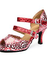 Для женщин Танцевальные кроссовки Дерматин Сандалии Кроссовки Профессиональный стиль С пряжкой На толстом каблуке Черный Красный5 - 6,8