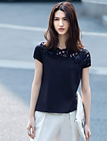 Damen Solide Einfach Alltag Normal T-shirt,Asymmetrisch Kurzarm Baumwolle