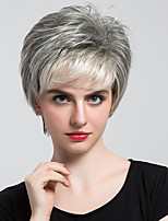 Fashion Mixed Color Grey Wigs Natural Short Hair Wigs For Women