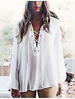 Women's Going out Sexy Shirt,Solid Shirt Collar Long Sleeve Silk