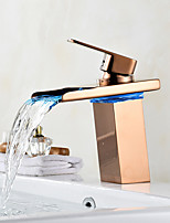 Centerset Waterfall LED indicatorRose Gold , Bathroom Sink Faucet