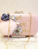 Women Evening Bag PU All Seasons Event/Party Casual Party & Evening Club Baguette Flower Magnetic Peach Blushing Pink White