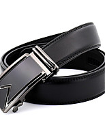 Men's Simple Black/Blue Genuine Leather Alloy Automatic Buckle Waist Belt Work/Casual/Party All Seasons
