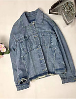 Women's Going out Casual/Daily Sexy Cute Spring Denim Jacket,Solid Notch Lapel Long Sleeve Regular Cotton