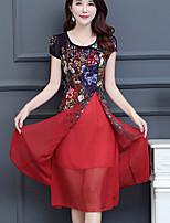 Women's Casual Plus Size Simple A Line Dress,Geometric Round Neck Midi Short Sleeve Polyester Summer Mid Rise Inelastic Medium