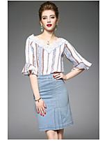 OYCP Women's Daily Contemporary Summer Blouse Skirt SuitsStriped Round Neck  Length Sleeve