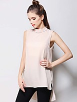 Women's Going out Casual/Daily Simple T-shirt,Solid Round Neck Sleeveless Silk Cotton