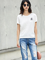 AMIIWomen's Daily Casual Simple T-shirtPrint Round Neck Short Sleeve Cotton Polyester