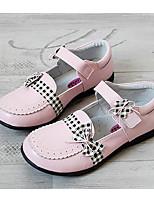 Girls' Flats First Walkers Cowhide Spring Fall Casual Walking Magic Tape Low Heel Blushing Pink Ruby White Flat
