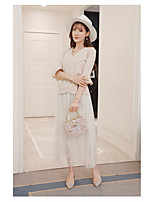 Women's Casual/Daily Work Simple Summer T-shirt Skirt Suits,Solid V Neck ½ Length Sleeve