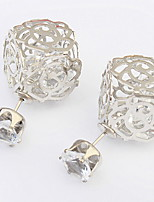 Korean Style Fashion Adorable Hollow Out Chrome Cube Lady Party Stud Earrings Movie Jewelry