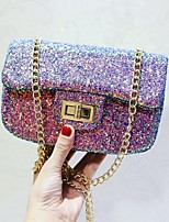 Women Evening Bag PU All Seasons Event/Party Party & Evening Club Flap Sequined Magnetic Rainbow