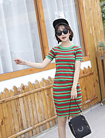 Women's Going out Casual/Daily Simple Cute Regular Pullover,Striped Crew Neck Short Sleeve Others Spring Thin Micro-elastic