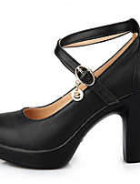 Women's Heels Formal Shoes Leather Spring Fall Office & Career Formal Shoes Chunky Heel Black 5in & over