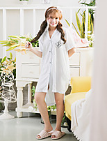 Women's Night Dress Plaid Short Sleeve Comfort Turn Down Collar Pajamas