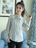 Women's Work Street chic Shirt,Striped Shirt Collar Long Sleeve Cotton