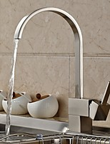 Contemporary Standard Spout Centerset Widespread Pullout Spray with  Ceramic Valve Single Handle One Hole for  Nickel Brushed , Kitchen