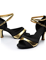 Women's Latin Satin Leatherette Sandals Indoor Heel Black/Gold Customizable