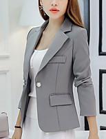 Для женщин Офис осень Блейзер Лацкан с острым углом,просто Однотонный Обычная Длинный рукав,Полиэстер