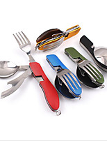Camping Folding Knife and Fork Spoon Combination Tableware Outdoor Camping Picnic Split Tool Stainless steel Multi - Function Random Color