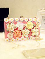 Women Evening Bag PU All Seasons Event/Party Party & Evening Date Baguette Flower Magnetic Blushing Pink