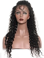Natural Color High Quality 100% Brazilian Virgin Human Hair Wig Deep Wave Lace Front Wigs