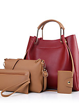 Women Bag Sets PU All Seasons Formal Casual Office & Career Barrel Zipper Red Black White Green