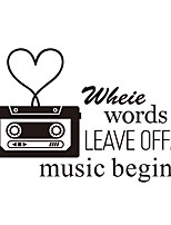 Wall Stickers Wall Decas Style Music Begins English Words & Quotes PVC Wall Stickers