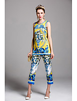 Chemise Pantalon Costumes Femme,Imprimé Sortie Décontracté / Quotidien Mignon Chinoiserie Printemps Eté Sans Manches Col Arrondi