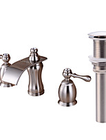 Widespread Waterfall with  Brass Valve Two Handles Three Holes for  Nickel Brushed