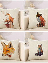 Set Of 4 Creative Cartoon Fox Printing Pillow Case Classic Cotton/Linen Pillow Cover
