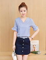 Women's Casual/Daily Work Simple Shirt Skirt Suits,Striped V Neck Short Sleeve Micro-elastic