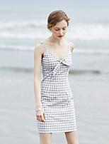 Gaine Robe Femme Soirée Sortie Vintage simple,Tartan Col en V Au dessus du genou Sangles Coton Eté Taille Haute Non Elastique Moyen