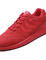 Men's Athletic Shoes Comfort PU Spring Fall Casual Comfort Flat Heel Black Ruby Khaki Flat