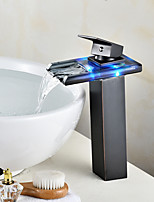 Centerset Waterfall LED indicator with  Ceramic ValveOil-rubbed Bronze , Bathroom Sink Faucet