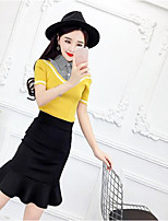 Women's Going out Casual/Daily Sexy Street chic Shirt Dress Suits,Solid Striped V Neck Short Sleeve strenchy