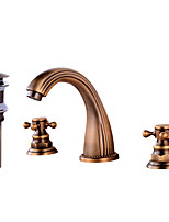 Contemporary Widespread Clawfoot with  Brass Valve Two Handles Three Holes for  Antique Copper , Bathroom Sink Faucet