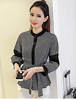 Women's Casual/Daily Simple Summer Shirt,Solid Standing Collar ¾ Sleeve Cotton Opaque