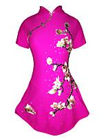 Robe de Patinage Femme Fille Manches Courtes Patinage Jupes & Robes Robes Haute élasticité Robe de patinage artistique StrassSpandex