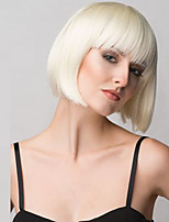 White Women Short Straight  Blonde BoBo Wigs Syntheitc Hair Nets Wig With Bangs.