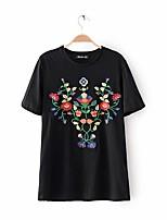 Tee-shirt Femme,Broderie Décontracté / Quotidien Sortie Sexy simple Chic de Rue Eté Manches Courtes Col Arrondi Coton Moyen Fin