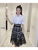 Women's Going out Casual/Daily Simple Summer Shirt Skirt Suits,Solid Shirt Collar ½ Length Sleeve