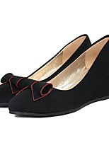 Women's Heels Comfort Fabric Spring Casual Wedge Heel Black Flat