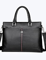 Men Tote Cowhide All Seasons Formal Office & Career Envelope Zipper Brown Black