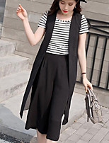 Women's Going out Casual/Daily Work Casual Bolster Summer T-shirt Pant Suits,Solid Striped Round Neck Short Sleeve