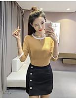 Mujer Regular Pullover Simple,Un Color Escote Redondo 1/2 Manga Algodón Primavera Medio Microelástico